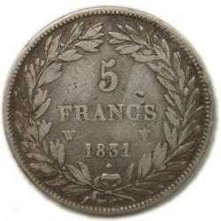Louis Philippe Ier 5 Francs 1831 W T. creux, lartdesgents.fr