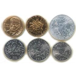 FDC 1985 1,2,5,10+10,100 Francs sous blister, lartdesgents.fr