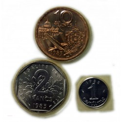 FDC 1983 -1 Centime, 2 Francs, 10 Francs sous blister, lartdesgents.fr