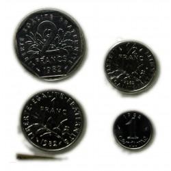 FDC -1 Centime, 1/2 Franc, 1 Franc, 2 Francs, 1982 sous blister, lartdesgents.fr