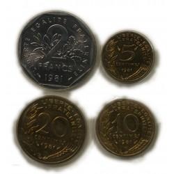 FDC - 5,10,20 Centimes,  2 Francs, 1981 sous blister, lartdesgents.fr