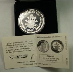Médaille Vatican Jean Paul II 2005 argent 25grs, lartdesgents.fr