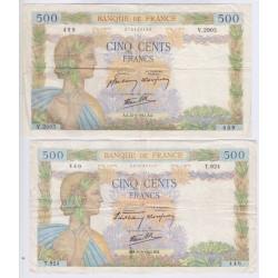 La Paix - lot de 500 Francs 26 Sept. 1940, 21 Mai 1941, lartdesgents.fr