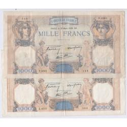 CERES & MERCURE- 1000 Francs 4 Billets TB/TTB, lartdesgents.fr