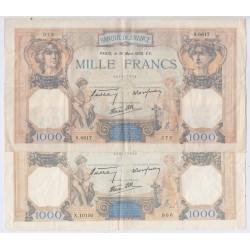 CERES & MERCURE- 1000 Francs 4 Billets TTB (2), lartdesgents.fr