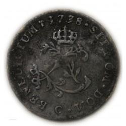 LOUIS XV - DOUBLE SOL (2 sous) en billon 1738 C Caen R6 TB/TTB