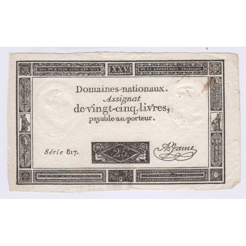 Assignat 25 livres 1793 superbe, lartdesgents.fr