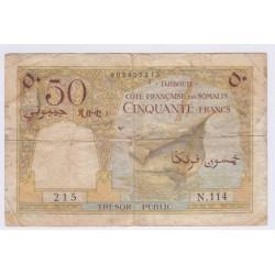 DJIBOUTI Côte des Somalie 50 francs (1952), lartdesgents.fr