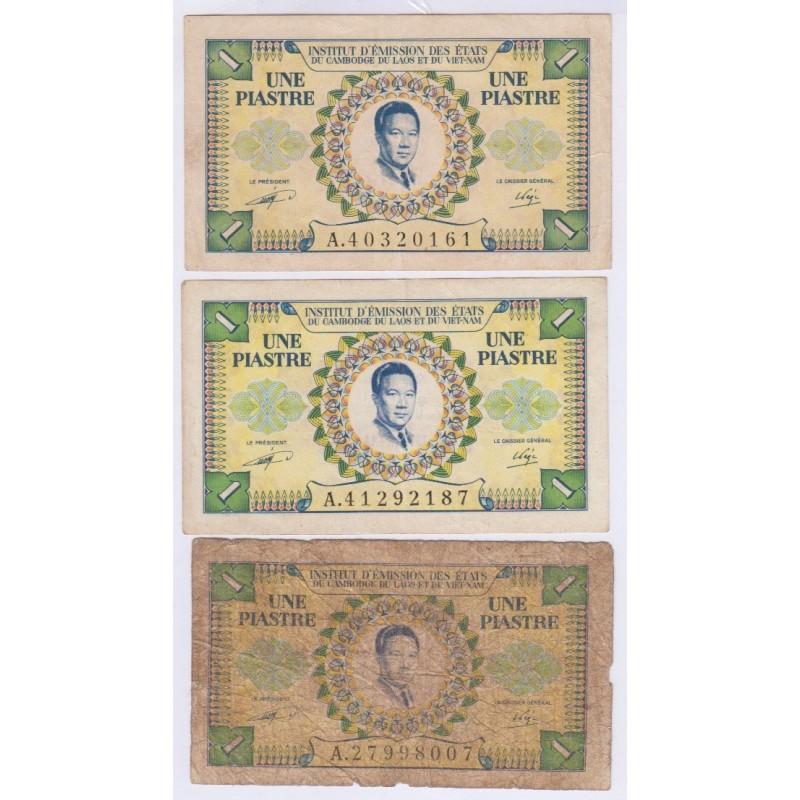 French Indochina lot of 1  piastre - 1953 - Vietnam, Cambodia, Laos, lartdesgents.fr