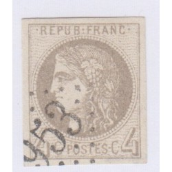 N°41B , 4c. gris report 2, déc 1870 Oblitéré cote 350 Euros lartdesgents.fr