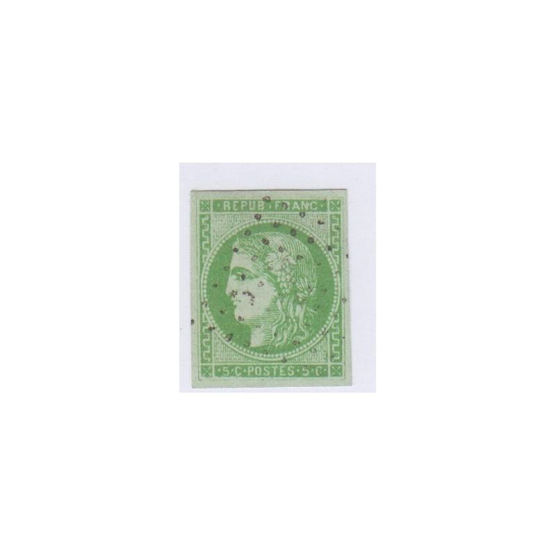 N°42B , 5c. vert-jaune report 2, déc 1870 Oblitéré signé cote 220 Euros lartdesgents.fr