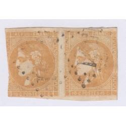 Paire N°43B , 10c. bistre jaune report 2, fév 1871, cote 250 Euros  lartdesgents.fr