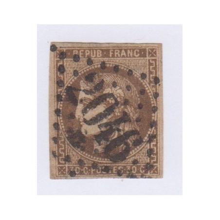 N°47d, 30 c. brun foncé, déc 1870, oblitéré cote 350 Euros  lartdesgents.fr