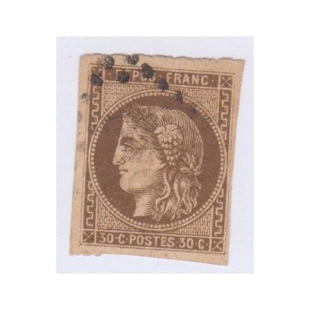 N°47, 30 c. brun report 1, déc 1870, oblitéré  cote 280 Euros  lartdesgents.fr
