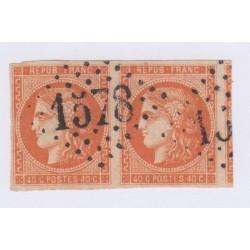Paire N°48c, 40 c. rouge-orange, déc 1870, oblitérée  cote 450 Euros  lartdesgents.fr