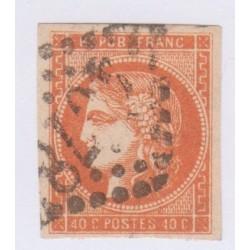 N°48c, 40 c. rouge-orange, déc 1870, oblitéré  cote 250 Euros  lartdesgents.fr