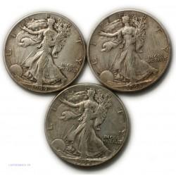 USA - half Dollar Liberty 1943 s + 2 X 1944, lartdesgents.fr