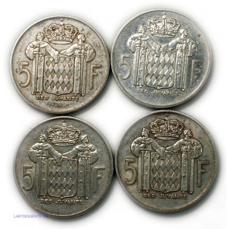 Monaco - 4 x 5 francs Prince RAINIER III lartdesgents.fr