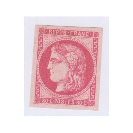 N°49, 80 c. rose, déc 1870, Neuf* signé cote 320 Euros  lartdesgents.fr