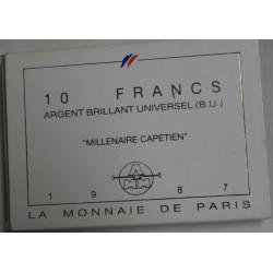 Coffret BU argent 10 Francs 1987 Millénaire Capétien, lartdesgents.fr