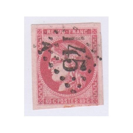 N°49, 80 c. rose, déc 1870, oblitéré signé cote 350 Euros  lartdesgents.fr