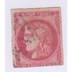 N°49, 80 c. rose, déc 1870, oblitéré signé cote 550 Euros  lartdesgents.