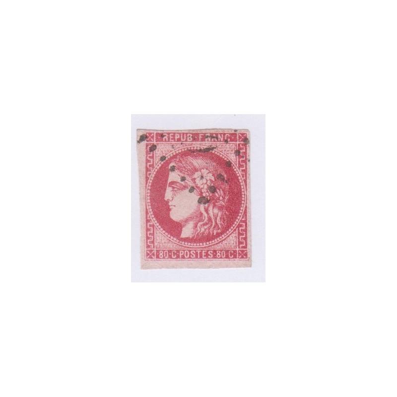N°49, 80 c. rose, déc 1870, oblitéré cote 550 Euros  lartdesgents.fr