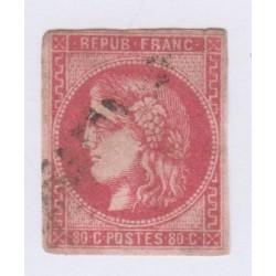 N°49, 80 c. rose, déc 1870, oblitéré cote 350 Euros  lartdesgents.fr