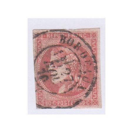 N°49d, 80 c. rose, déc 1870, oblitéré cote 1320 Euros  lartdesgents.fr