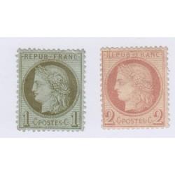 N°50 et N°51, 1 c. et 2 c., 1872, neufs sans gomme  cote 80 Euros  lartdesgents.fr