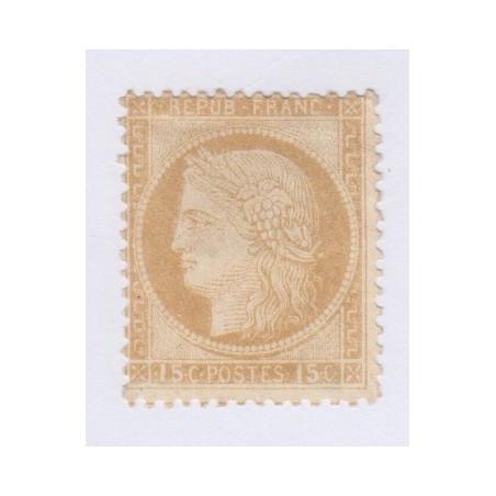 N°55, 15 c. bistre, 1873, neuf sans gomme signé cote 180 Euros  lartdesgents.fr