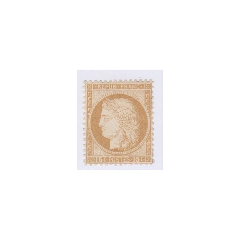 N°55, 15 c. bistre, 1873, neuf* avec gomme trace de charnière cote 725 Euros  lartdesgents.fr