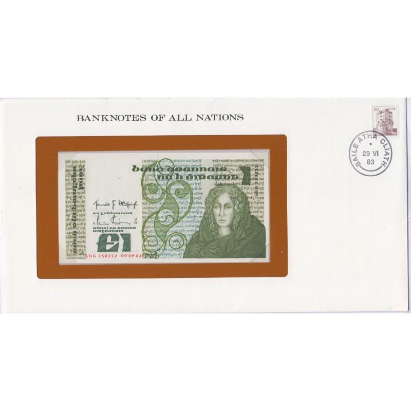 Ireland - 1 Pound 09-09-82 - dans env 1er jour  P70d, lartdesgents.fr