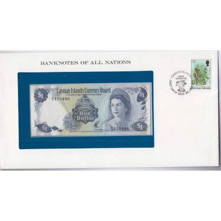 Iles caïman- 1 Dollar - 1971 - P1b - dans enveloppe 1er jour,  lartdesgents.fr