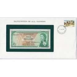 Caraïbe - 5 Dollars - P14h2 - dans enveloppe 1er jour,  lartdesgents.fr
