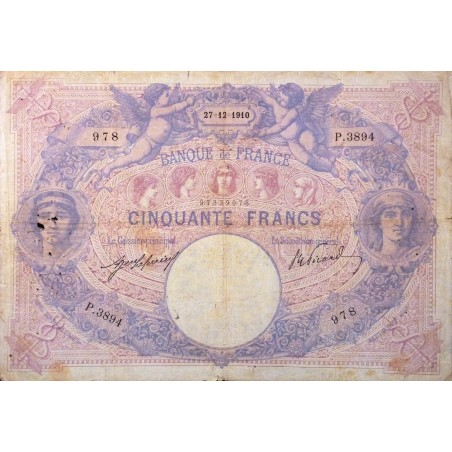 50 Francs Bleu et Rose 27-12-1910  TB  Fayette 14.23