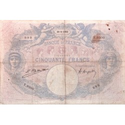 50 Francs Bleu et Rose 29/09/22 (50F015)