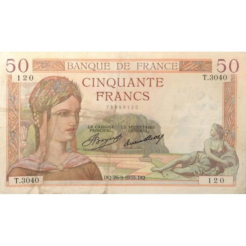 50 Francs Cérès 26-09-1935  TTB  Fayette 17.17