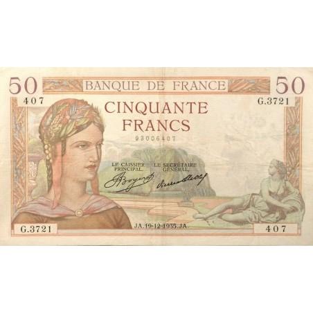 50 Francs Cérès 19-12-1935 TTB+ Fayette 17.21