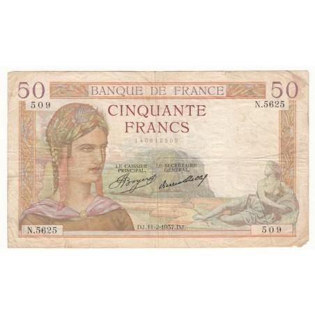 50 Francs Cérès 11-02-1937 TB Fayette 17.34