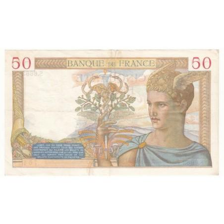 50 Francs Cérès 05-08-1937 TB Coupé en 2 restauré  Fayette 18.1