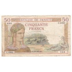 50 Francs Ceres 09/09/37 (50F050)