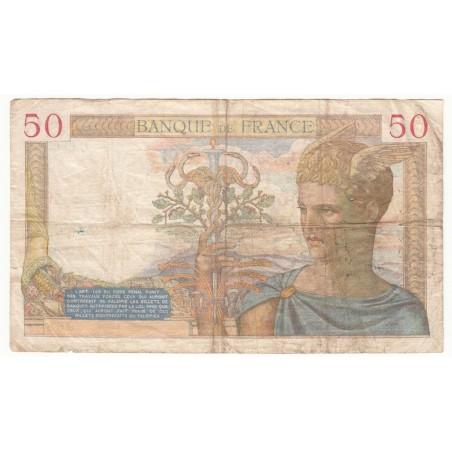 50 Francs Cérès 09-09-1937   TB   Fayette 18.3