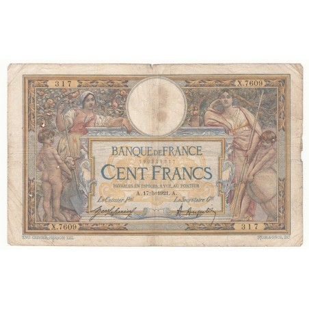 100 Francs Luc Olivier Merson 17-05-1921 TB