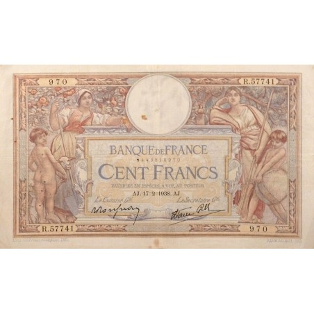100 Francs Luc Olivier Merson 17-02-1938 TB+  Fayette 27.11