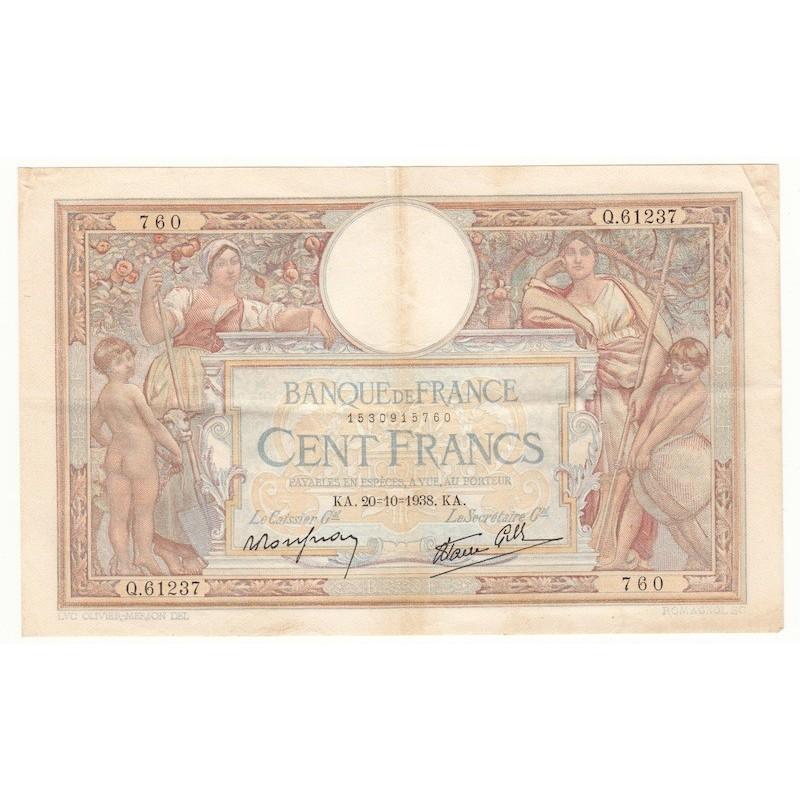 100 Francs Luc Olivier Merson 20-10-1938 TTB+ Fayette 25.32