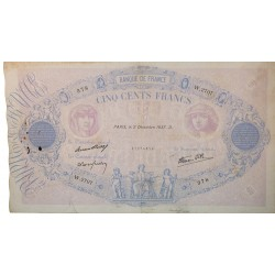 500 Francs Bleu et Rose 02-12-1937 TB Fayette 31.4