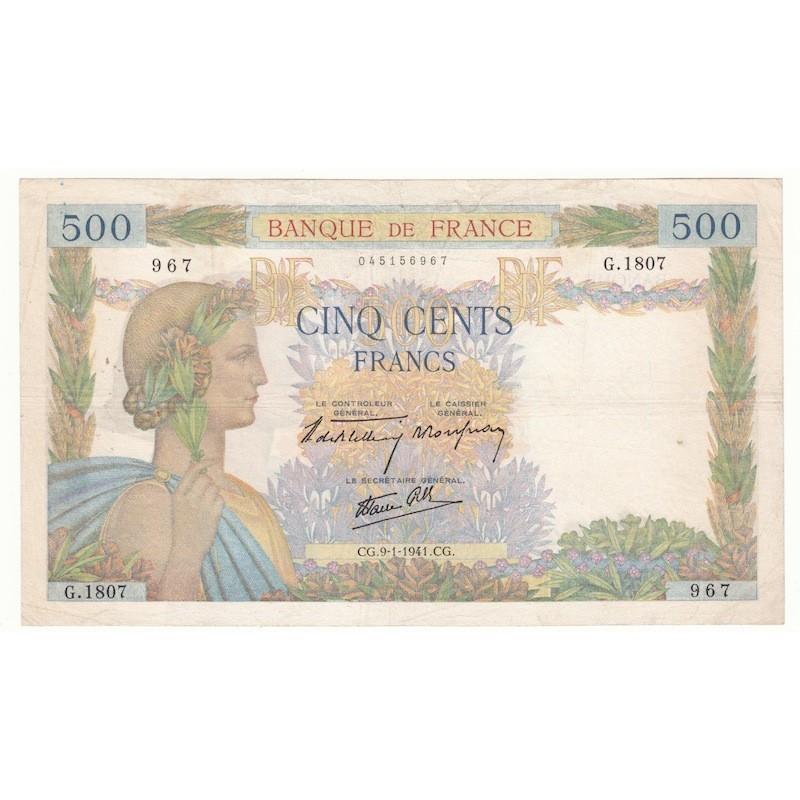 500 Francs La Paix 09-01-41 Fayette 32.12 TB+