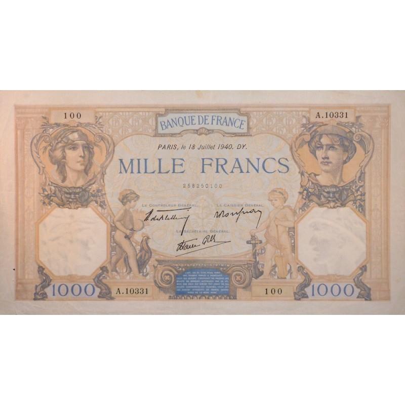 1000 Francs Cérès et Mercure 18-07-40 TTB