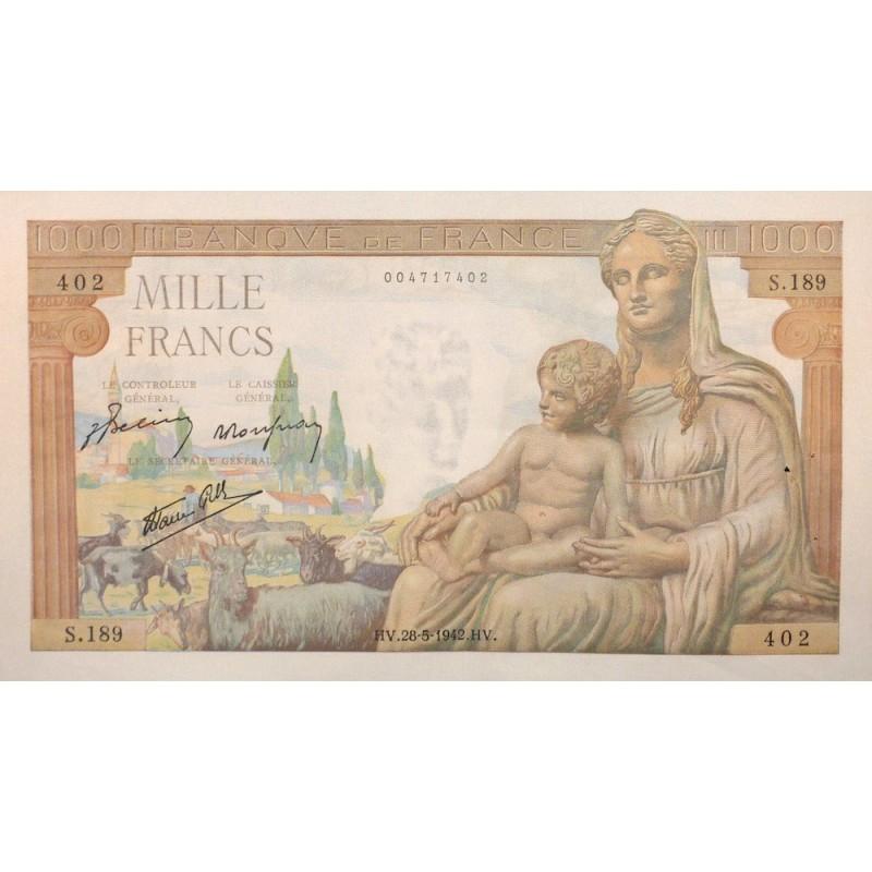 1000 Francs Déesse Déméter 28/05/42 (1000F037)